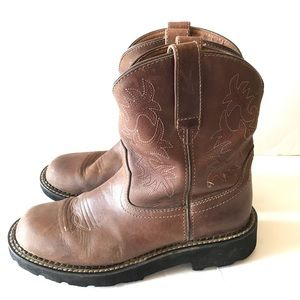 Ariat Fat Baby Pull on Western Boots 8.5 Brown